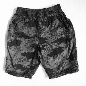 Grey and Black Camo Print Shorts